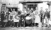 Historical photo of brewery workers